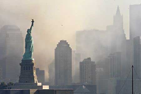 Lady Liberty watches over a wounded city.